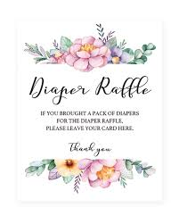 raffle baby shower floral baby shower sign for raffle tickets printable