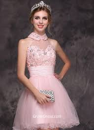 cocktail wedding dresses gorgeous candy pink beaded sleeveless halter neck cocktail