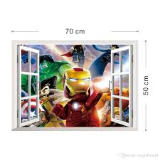 home decor wall art stickers 3d window view the lego avengers wall art decal sticker kids boys