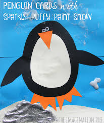 penguin christmas card with puffy paint snow the imagination tree