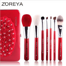 travel makeup brushes set 6pcs with suede beauty case msq001