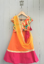 rani pink colour tangerine orange and rani pink ghaghra with floral multi colour