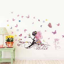 search on aliexpress com by image personality fairies girl butterfly flower fairy stickers bedroom living room pegatinas de pared wall stickers for home decor