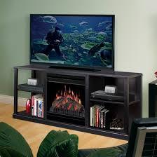small black entertainment fireplace center tv stand decofurnish