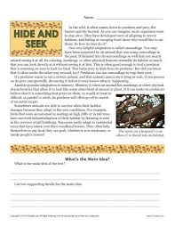 sixth grade reading comprehension worksheet hide and seek