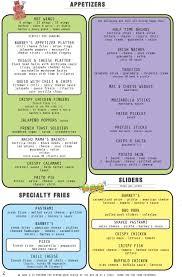 menu barney u0027s beanery
