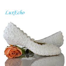 wedding shoes low wedges white flowers pearl bridal shoes low heel toe fashion