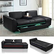 kunstleder sofa schwarz de lincoln led schwarz funktionssofa schlafsofa sofa