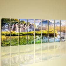 waterfall home decor landscape waterfall picture print canvas wall art home decor ready