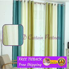 Green Sheer Curtains Blue Green White Fabric Bedroom Door Net Curtain Drapes Sheer