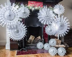 white paper snowflakes traditional christmas wedding christening