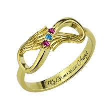 mothers infinity ring gold color angel wings ring infinity s birthstone ring