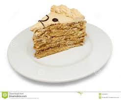 piece of cake on plate stock image image 32266451