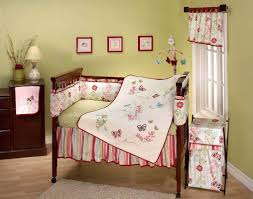 Nursery Interior Nuance Cute Pink And White Nuance Nursery Bedding With Cream Carpet