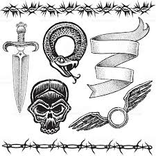 skull rose heart snake barbed wire flame tattoo designs stock