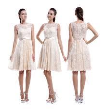 knee length champagne lace bridesmaids dresses