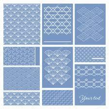 japanese sashiko motif business card template asian pattern