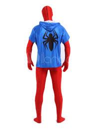 blue red spiderman zentai suit black spider print superhero