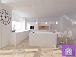 cuisine blanche ouverte sur salon cuisine leicht conviviale