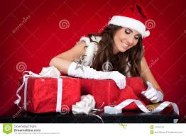 santas helper wrapping christmas presents stock images image