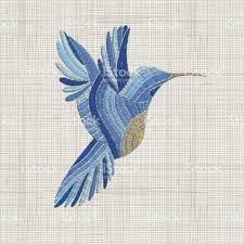 embroidered home decor fabric embroidery blue bird vector embroidery home decor ornament for