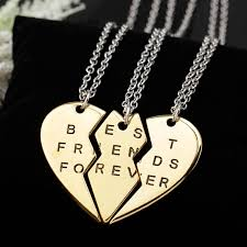 silver best friend necklace images Best friends forever 3 piece friendship necklace madison audrey jpg