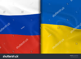 Ukraine Flag Flags Russia Ukraine Split Down Middle Stock Illustration
