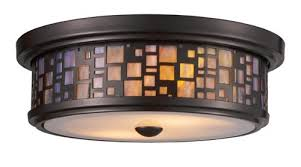 Stained Glass Ceiling Light Elk 70027 2 2 Light Flush Mount 4 Inch Bronze With
