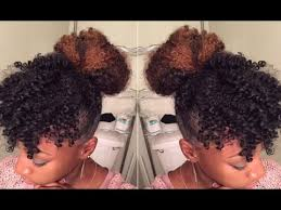 natural hair bun styles with bang tutorial faux bun bangs youtube