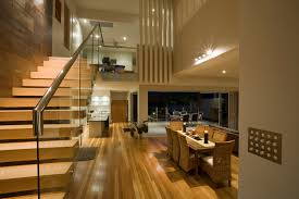 eye catching open floor plans loft ideas with glass banister and