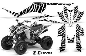 camo yamaha raptor 350 atv graphics white black
