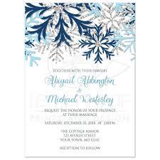 Silver Wedding Invitation Cards Invitations Winter Snowflake Blue Silver