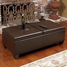 chocolate storage ottoman alfred brown bonded leather storage ottoman by christopher knight