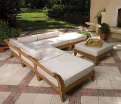 elegant wood patio furniture kits with large square seat cushions