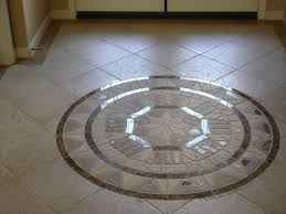 diagonal porcelain floor tile with medallion and bordered floor