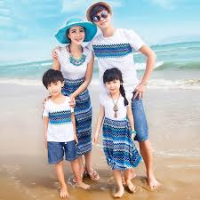 authentic dresses wave pattern family matching clothes