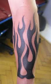 black tribal fire and flame tattoo design for forearm