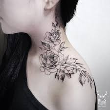 the rose neck tattoo by kat abdy is soft and an ideal tattoo