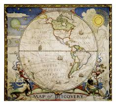Canvas Map Of The World by 1929 Map Of Discovery Western Hemisphere Historical Maps