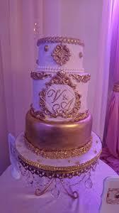 elegant baroque vintage white u0026 gold wedding cake cakecentral com