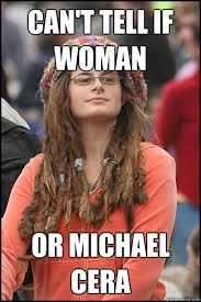 Michael Cera Meme - can t tell if woman or michael cera college liberal quickmeme