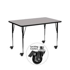 Height Adjustable Desk Legs by Amazon Com Flash Furniture Mobile 24 U0027 U0027w X 48 U0027 U0027l Rectangular Grey