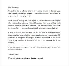 sample resigning letters 10 download free documents in word pdf