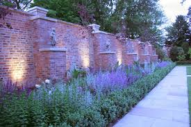 Garden Brick Wall Design Ideas Brick Wall Design With Classic Statue And Stylish Upward