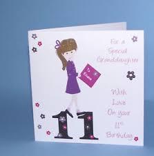 personalised handmade 11th birthday card granddaughter