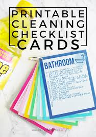 printable cleaning checklist cards simple cleaning bucket