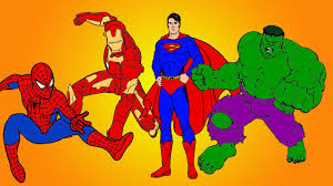 spiderman vs superman vs hulk vs ironman coloring book youtube