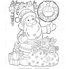 vector coloring page of a coloring page santa claus with toys and