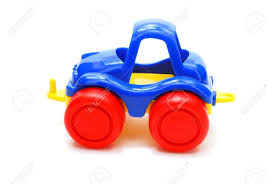 tiny blue car toy with red wheels isolated on white stock photo