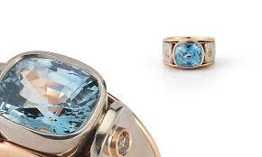 light blue sapphire ring light blue sapphire cognac ring 18kt red white gold